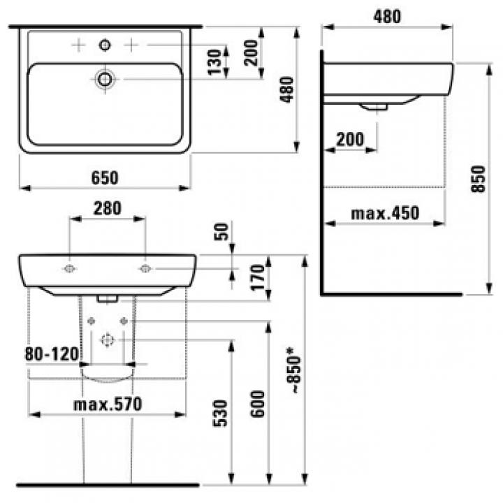 Раковина подвесная Laufen PRO A 65x48 см, с отверстием