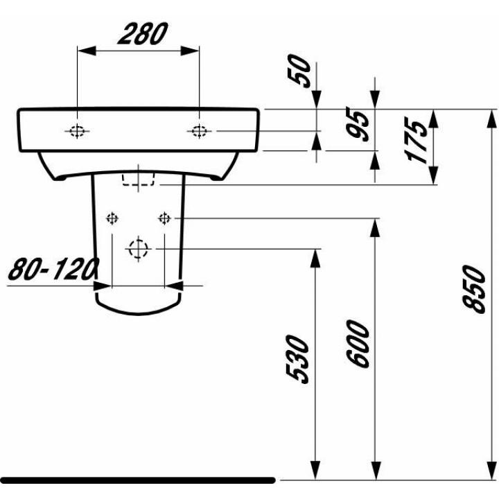 Раковина подвесная Laufen PRO 55x38 см, с отверстием H8189580001041