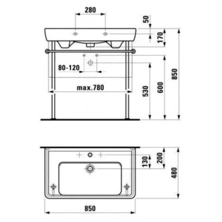 Раковина мебельная Laufen PRO 85x48 см, с отверстием, H8139560001041