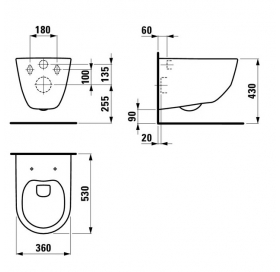Чаша подвесного унитаза Laufen PRO + сидение дюропласт Soft Close, H8669570000001