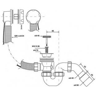 Сифон для ванны и глубоких душевых поддонов McAlpine, автоматический,40/50, HC-31S1