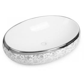 Раковина Newarc Countertop 60 5015S-W с серебряным декором
