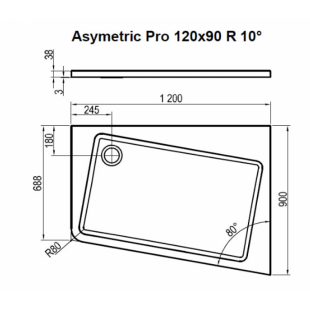 Душевой поддон ASYMETRIC PRO 120x90 R 10°, XA25G70101P