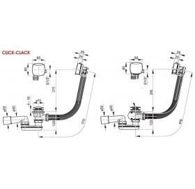 Сифон для ванны Ravak CLICK CLACK NEW с заполнением переливом, хром, X01440
