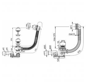 Сифон для ванны Ravak с переливом хром 800 + сток на тросике, X01318