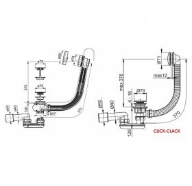 Сифон для ванны Ravak с переливом хром 800 + сток механизм CLICK CLACK, X01472