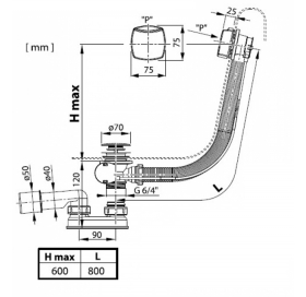 Сифон для ванны Ravak с переливом хром 800 + сток, с тросиком, X01506