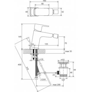 Смеситель для биде Ravak 10° Free TD F 055.00, X070133