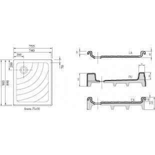 Поддон для душевых кабин Ravak ANETA 75x90 LA, квадратный, акрил, A003701220