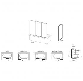 Стенка для душевой кабинки Ravak SUPERNOVA APSV-70 Rain, профиль сатин, пластик, 95010U0241