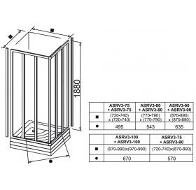 Прямоугольная душевая кабина Ravak SUPERNOVA ASRV 3 - 90 Transparent, стекло, 15V70102Z1