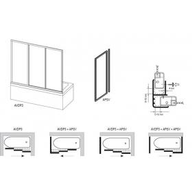 Шторка для ванны Ravak AVDP3 - 150 TRANSPARENT профиль сатин, 40VP0U02Z1