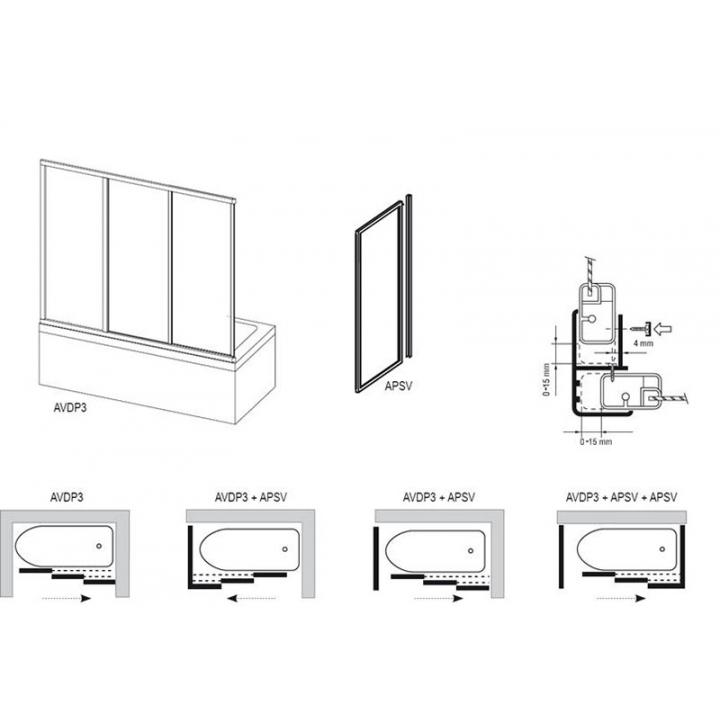 Шторка для ванны Ravak AVDP3 -120 GRAPE белый профиль, 40VG0102ZG