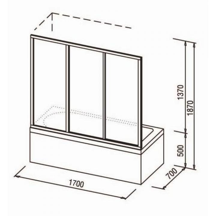 Шторка для ванны Ravak AVDP3 -170 RAIN профиль сатин, 40VV0U0241