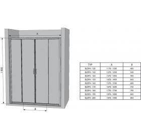 Душевые двери Ravak BLIX BLDP 4 - 120 белый+Transparent, 0YVG0100Z1