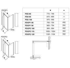 Стенка для душевой кабинки Ravak PIVOT PPS-80 Transparent, профиль палированый алюминий, стекло, 90G