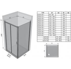 Стенка для душевой кабинки Ravak BLIX BLPS - 80 полированный алюминий+grape, 9BH40C00ZG
