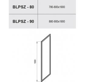 Стека для душа BLIX BLPSZ-90 ПОЛИРОВАННЫЙ АЛЮМИНИЙ TRANSPARENT, X93H70C00Z1