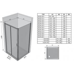 Стенка для душевой кабинки Ravak BLIX BLPS - 90 Transparent, полированный алюминий, стекло, 9BH70C00
