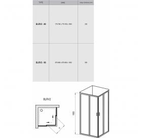 Душевой уголок Ravak BLIX BLRV-90 полированный алюминий+transparent, 1LV70C00Z1