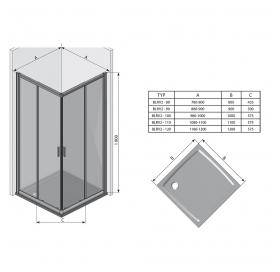 Прямоугольная душевая кабина Ravak BLIX BLRV2K-90 Сатин TRANSPARENT, 1XV70U00Z1