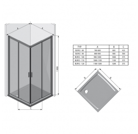 Прямоугольная душевая кабина Ravak BLIX BLRV2K-90 Сатин GRAPE, 1XV70U00ZG