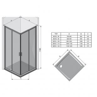 Прямоугольная душевая кабина Ravak BLIX BLRV2K-100 полированный алюминий TRANSPARENT, 1XVA0C00Z1