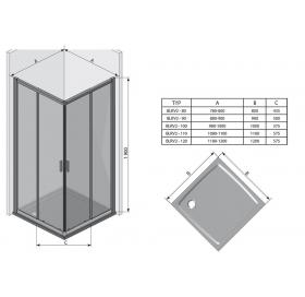 Прямоугольная душевая кабина Ravak BLIX BLRV2K-100 Сатин TRANSPARENT, 1XVA0U00Z1