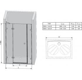 Душевые двери Ravak BRILLIANT BSD 3 - 120 A-R Transparent, хром, безопасное стекло, 0UPG0A00Z1