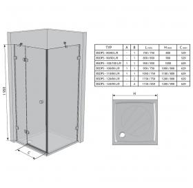 Прямоугольная душевая кабина Ravak BRILLIANT BSDPS - 110x80 R Transparent, хром, безопасное стекло,