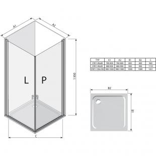 Прямоугольная душевая кабина Ravak CHROME CRV 1 - 80 Transparent, полированый алюминий, безопасное с
