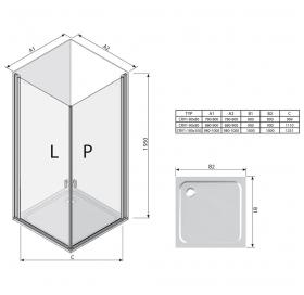 Прямоугольная душевая кабина Ravak CHROME CRV 1 - 80 Transparent, профиль сатин, безопасное стекло,