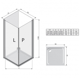 Прямоугольная душевая кабина Ravak CHROME CRV 1 - 100 Transparent, профиль сатин, безопасное стекло,