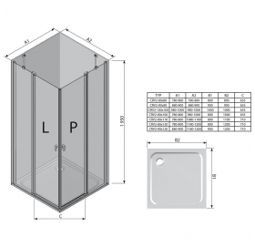 Прямоугольная душевая кабина Ravak CHROME CRV 2 - 110 Transparent,профиль сатин, безопасное стекло,