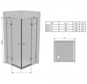 Прямоугольная душевая кабина Ravak BRILLIANT BSRV 4 - 80 Transparent, хром, безопасное стекло, 1UV44