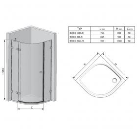 Полукруглая душевая кабина Ravak BRILLIANT BSKK 3 - 80 R Transparent, хром, безопасное стекло, 3UP44