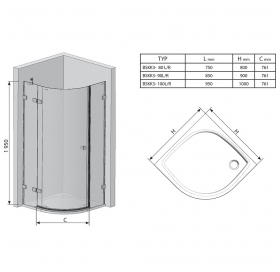 Полукруглая душевая кабина Ravak BRILLIANT BSKK 3 - 100 R Transparent, хром, безопасное стекло, 3UPA