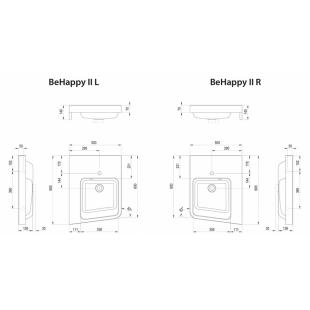Угловой умывальник BeHappy II, белый, левый, XJAL1100001