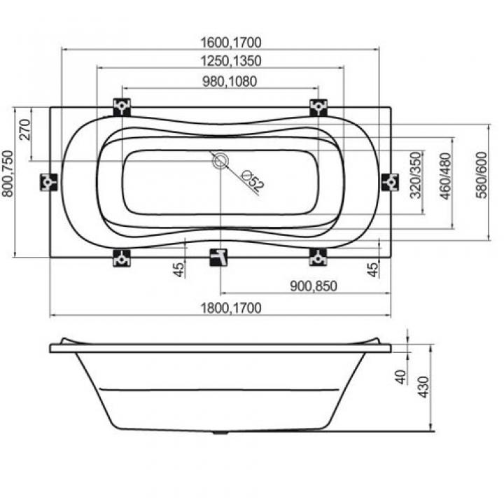 Ванна акриловая Ravak CAMPANULA II 180 CB21000000