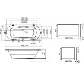 Панель боковая Ravak 80 U с креплением (CZ00140A00)