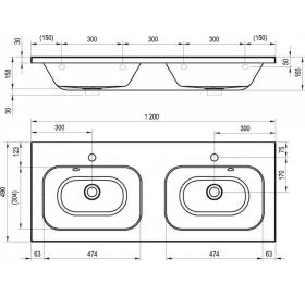 Раковина двойная мебельная Ravak CHROME 1200, 120x49 см, XJG01112000