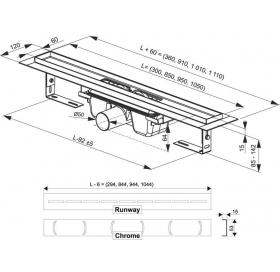 Душевой канал Ravak CHROME 1050, нержавеющая сталь, X01429