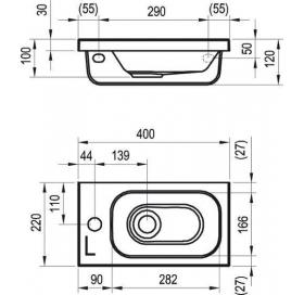 Раковина мебельная Ravak CHROME MINI 400, 40x22 см, левая, XJGL1100000