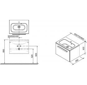 Тумба под умывальник Ravak SD CHROME 600, 60 см,  КАПУЧИНО/БЕЛАЯ, X000000961