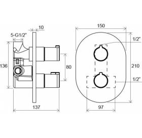 Смеситель термостатический скрытого монтажа без переключателем Chrome, X070095