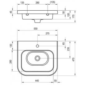 Раковина мебельная Ravak CHROME 550, 55x47 см, XJG01155000