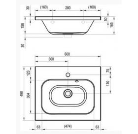 Раковина мебельная Ravak CHROME 600, 60x49 см, со скрытым переливом, XJG01260000