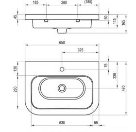 Раковина мебельная Ravak CHROME 650, 65x47 см, XJG01165000