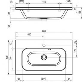 Раковина мебельная Ravak CHROME 800, 80x49 см, XJG01180000