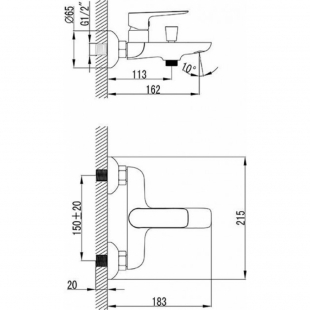 Набор смесителей для ванны Ravak CLASSIC 3 В 1, CL012+CL022+X01106